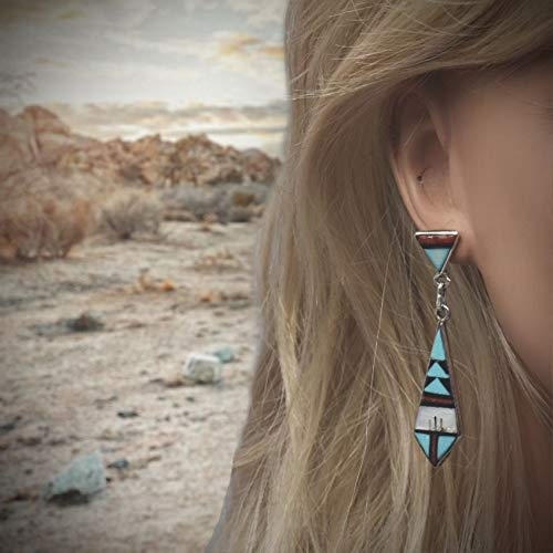 Genuine Sleeping Beauty Turquoise Zuni Earrings, 925 Sterling Silver, Native American USA Handmade, Nickel Free, Post Style