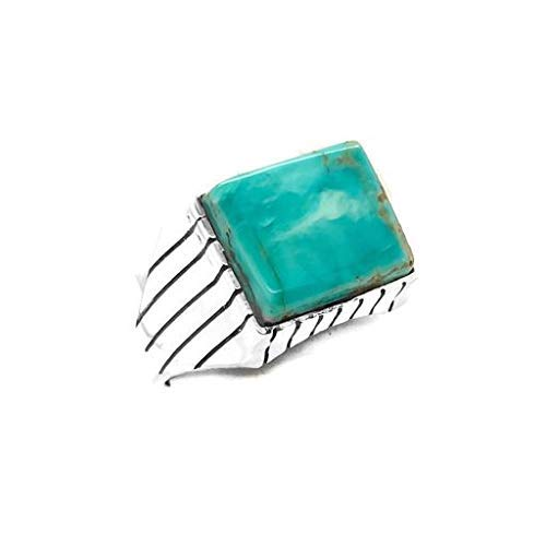 Genuine King's Manassa Turquoise Ring, Size 13, Sterling Silver, Authentic Navajo Native American USA Handmade, Artist Signed, Nickel Free, Southwest Jewelry for Men