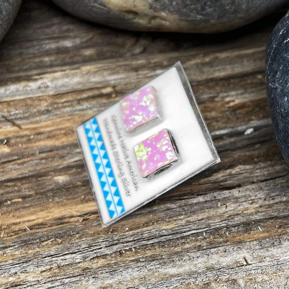 9mm Desert Opal Stud Earrings, 925 Sterling Silver, Native American USA Handmade, Nickle Free, Pink Synthetic Opal, Square