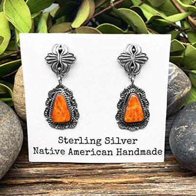 Orange Spiny Oyster Shell Earrings, Sterling Silver, Native American USA Handmade, Nickle Free, Post Style