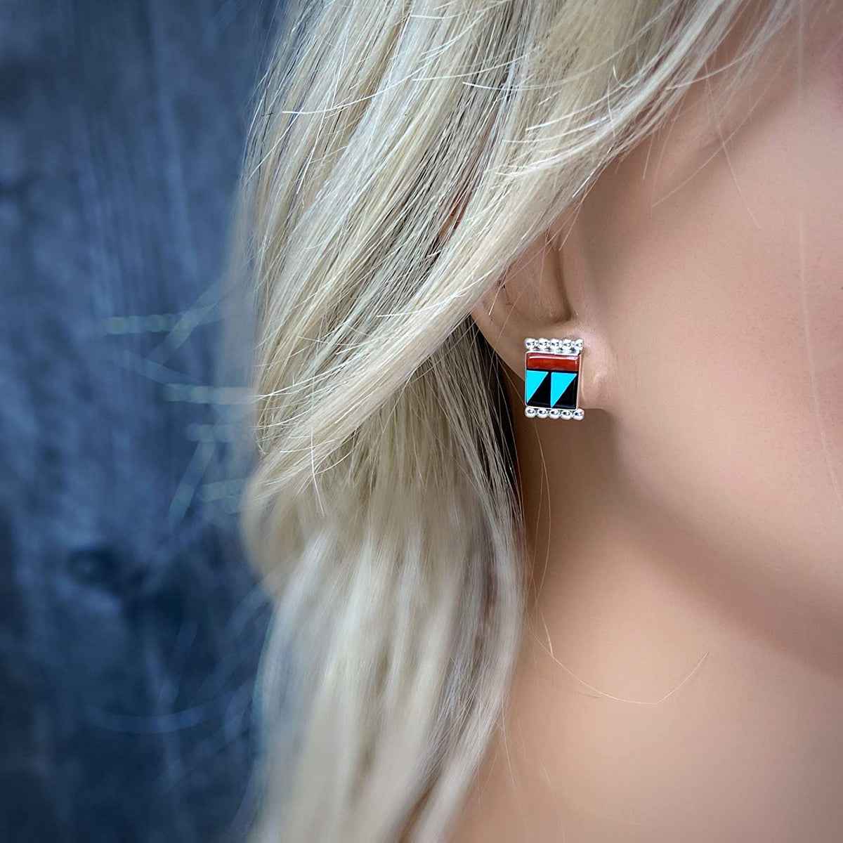 Genuine Sleeping Beauty Turquoise, Onyx, and Coral Earrings, 925 Sterling Silver, Authentic Native American Zuni Inlay, Nickle Free