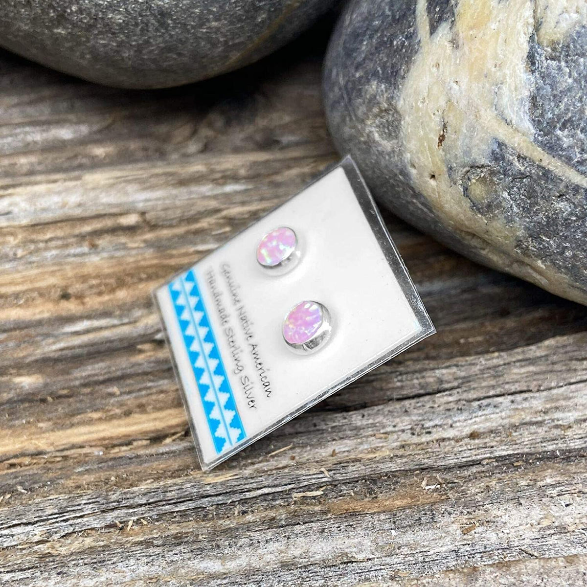 6mm Pink Desert Opal Stud Earrings, 925 Sterling Silver, Native American USA Handmade, Nickle Free, Round