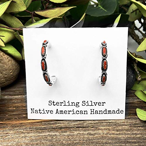 Genuine Red Coral Half Hoop Statement Earrings, Native American USA Handmade, 925 Sterling Silver, Large Hoop