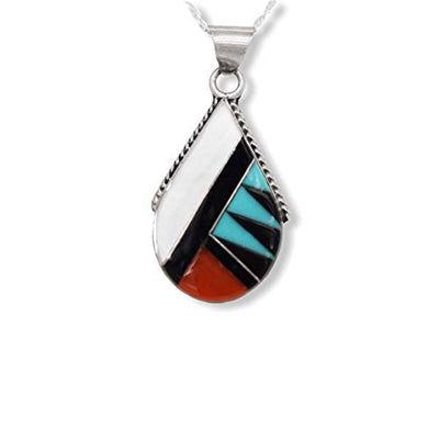 Genuine Stone Necklace, Turquoise, Coral, and Moonstone Pendant with Chain, Zuni Native American USA Handmade, 925 Sterling Silver, Artist Signed, Natural Stone, Nickel Free