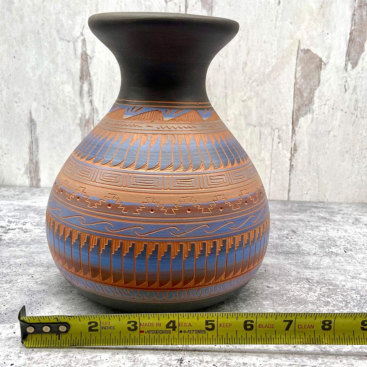 Authentic Native American Pottery, Traditional Vase Style, Genuine Navajo Tribe USA Handpainted and Etched, Artist Signed, Southwestern Home Decor Collectible