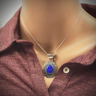 Genuine Lapis Lazuli Pendant, Sterling Silver, Authentic Navajo Native American USA Handmade, Artist Signed, Nickel Free, Southwest Jewelry