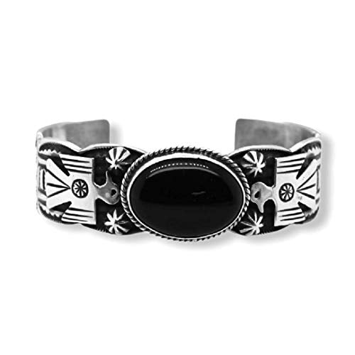 Genuine Black Onyx Cuff Statement Bracelet, Sterling Silver, Authentic Navajo Native American USA Handmade, Artist Signed, One of a Kind, Size Women's Large