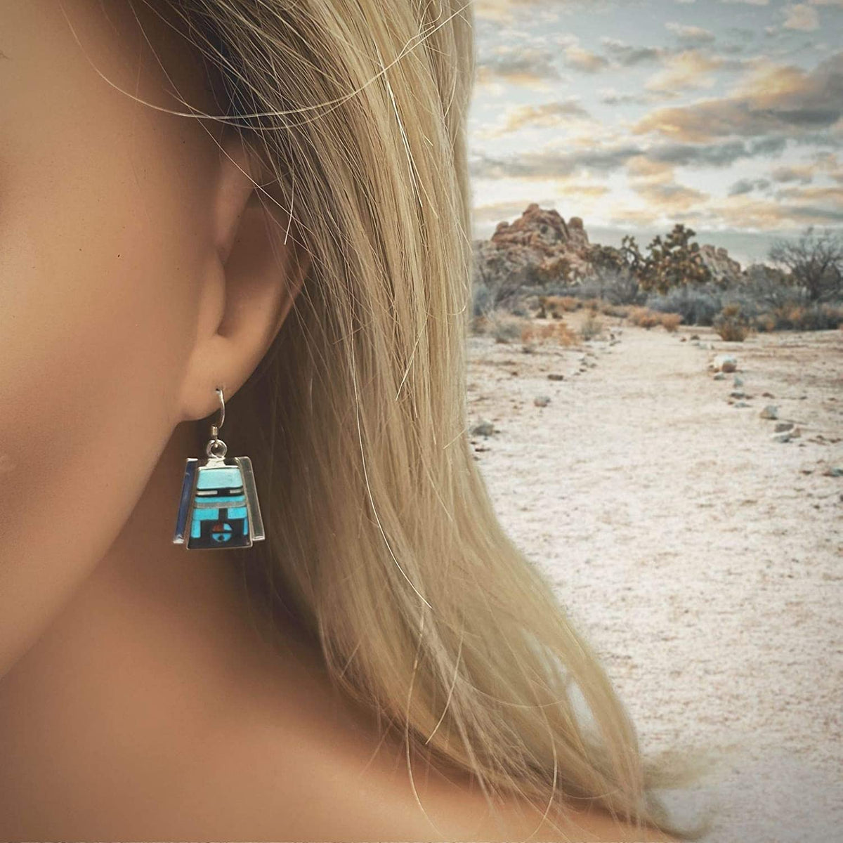 Genuine Sleeping Beauty Turquoise Zuni Sunface Earrings, 925 Sterling Silver, Native American USA Handmade,Artisan Signed Nickle Free, French Hook