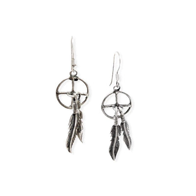 Sterling Silver Earrings, Native American USA Handmade, Nickle Free, French Hook, Boho Feather