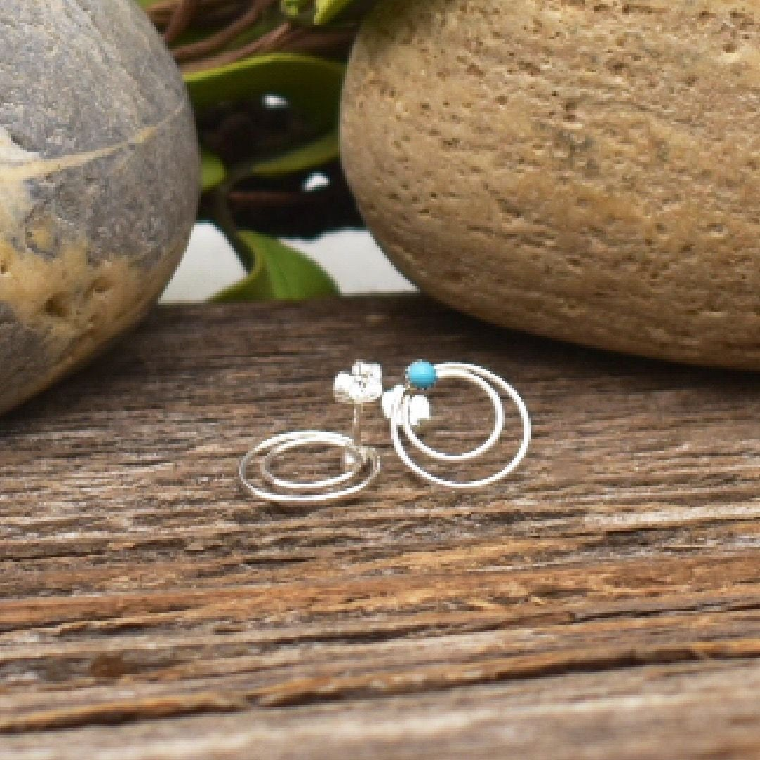 Genuine Sleeping Beauty Turquoise Stud Earrings in 925 Sterling Silver, Authentic Native American Handmade, Nickle Free