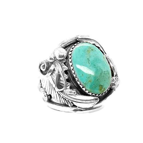 Genuine Turquoise Mountain Turquoise Ring, Size 13, Sterling Silver, Authentic Navajo Native American USA Handmade, Nickel Free, Southwest Jewelry for Men