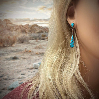 Genuine Sleeping Beauty Turquoise Earrings, 925 Sterling Silver, Native American USA Handmade, Post Style, Nickel Free