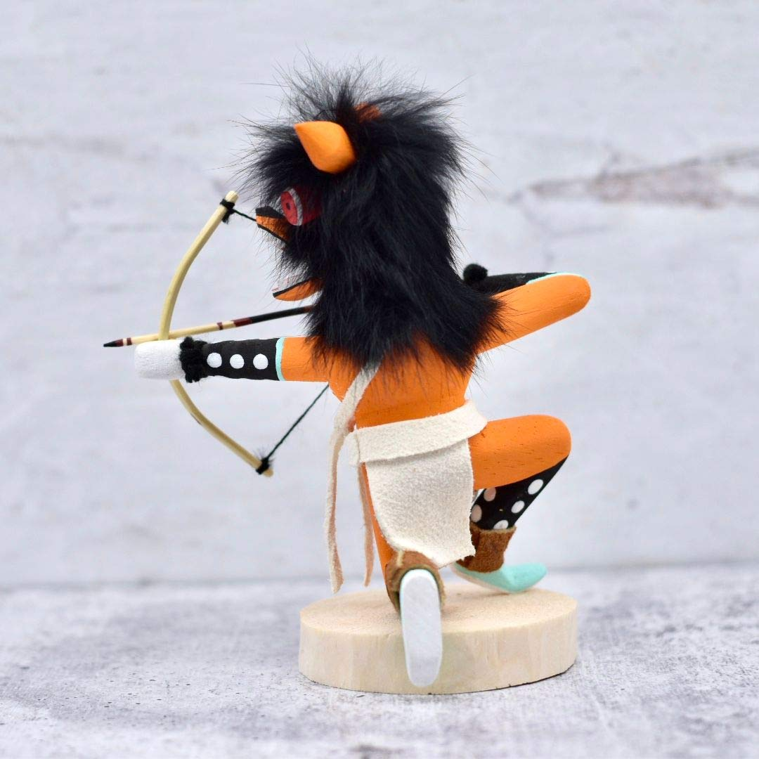 6 Inch Authentic Crouching Orange Wolf Kachina Doll, Genuine Navajo Native American Tribe Handmade in the USA, Artist Signed, Natural Materials, Southwestern Collectible Figurine