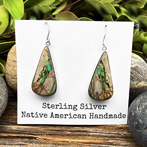 Genuine Royston Turquoise Statement Earrings, 925 Sterling Silver, Authentic Navajo Native American Handmade and Artist Signed, Nickle Free, French Hook
