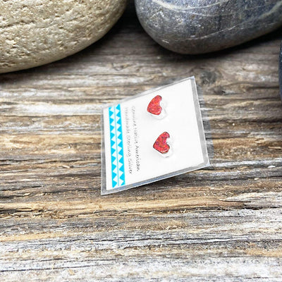 Red Desert Opal Heart Stud Earrings, 5mm, 925 Sterling Silver, Native American USA Handmade, Nickle Free, Synthetic Opal