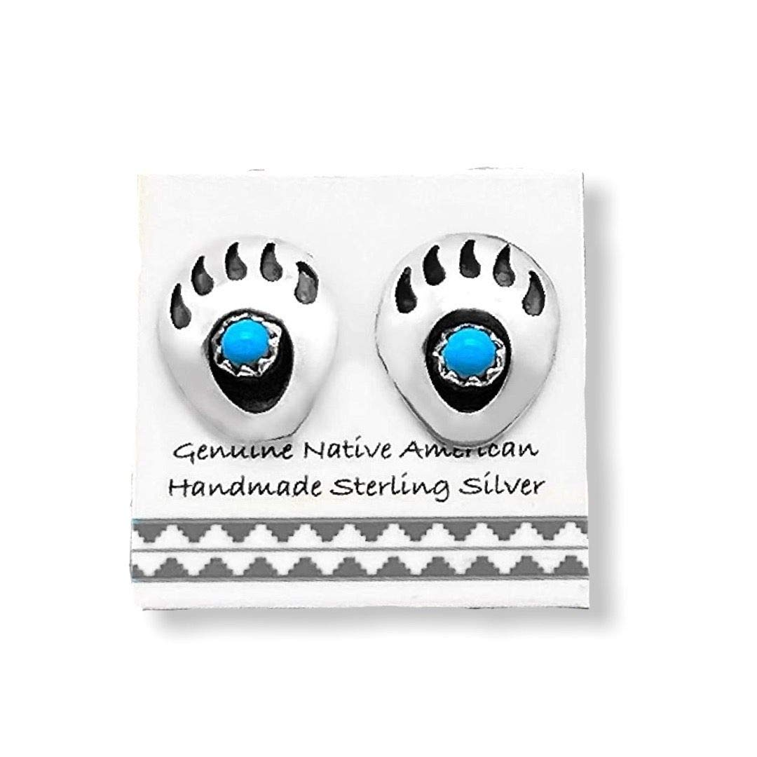 Genuine Sleeping Beauty Turquoise Bear Paw Stud Earrings in 925 Sterling Silver, Authentic Native American Handmade, Nickle Free