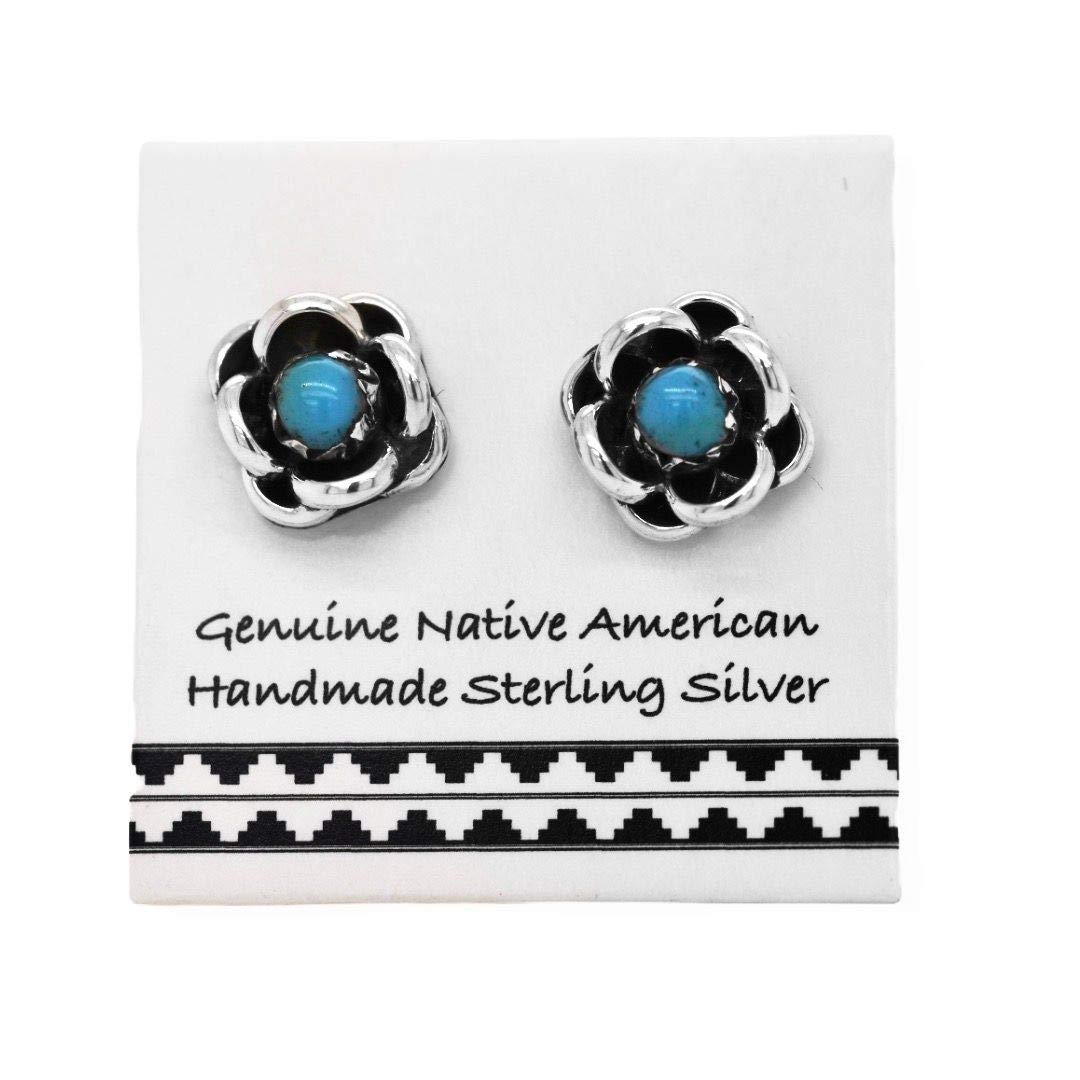 Genuine Sleeping Beauty Turquoise Cross Stud Earrings Southwest Cross and Religious Jewelry Native American USA Handmade Nickle Free 925 Sterling Silver