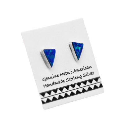 6mm Dark Blue Desert Opal Stud Earrings in 925 Sterling Silver, Native American USA Handmade, Nickle Free, Synthetic Opal, Triangle