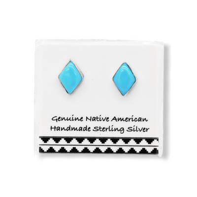 7mm Genuine Sleeping Beauty Turquoise Stud Earrings in 925 Sterling Silver, Diamond Shaped, Authentic Native American Handmade, Nickle Free
