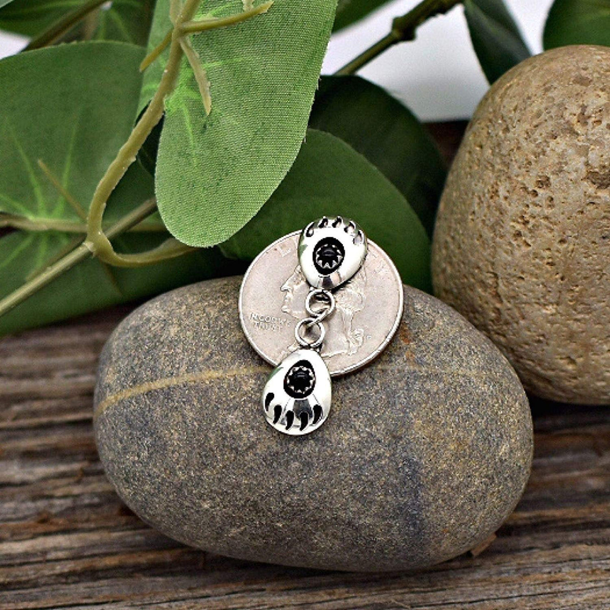 Genuine Black Onyx Double Bear Paw Earrings, 925 Sterling Silver, Native American USA Handmade, Nickle Free