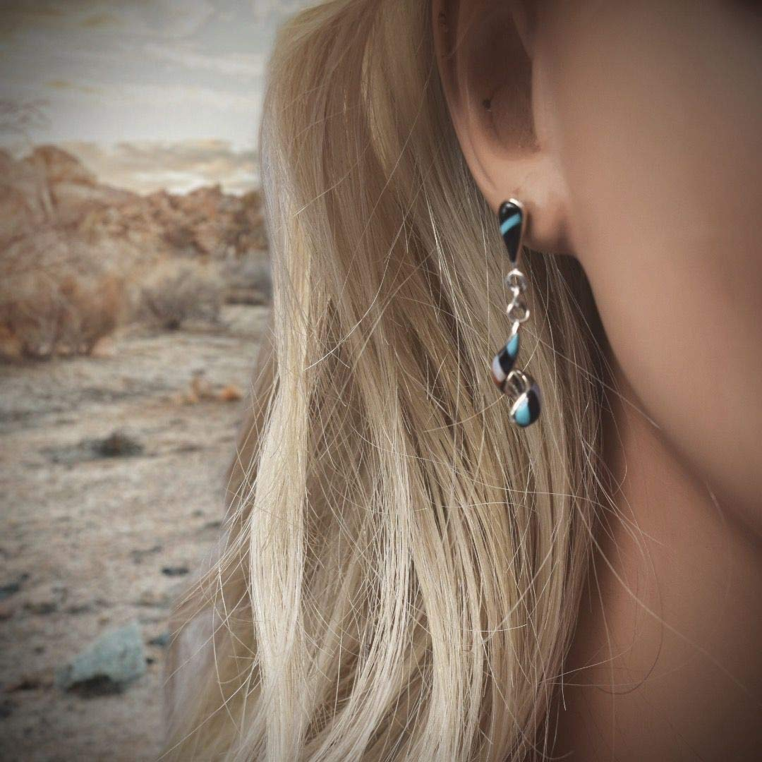 Genuine Stone Spiral Inlay Zuni Earrings, 925 Sterling Silver, Native American USA Handmade, Nickel Free, Post Style