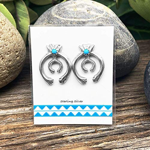Genuine Sleeping Beauty Turquoise Naja Earrings, Sterling Silver, Native American USA Handmade, Nickle Free, Small Batch Southwestern