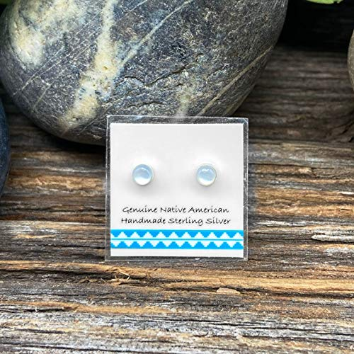4mm Genuine Mother of Pearl Stud Earrings, Sterling Silver, Native American Handmade in the USA, Nickle Free