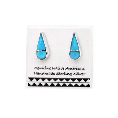 11mm Genuine Sleeping Beauty Turquoise Stud Earrings in 925 Sterling Silver, Inlay Teardrop, Authentic Native American Handmade, Nickle Free