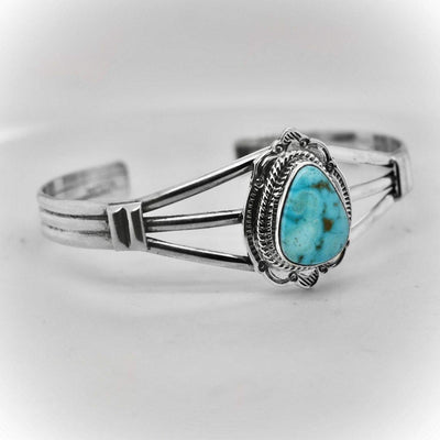 Genuine Turquoise Mountain Turquoise Cuff Bracelet, Sterling Silver, Authentic Navajo Native American USA Handmade, Artist Signed, One of a Kind, Size Women's Small