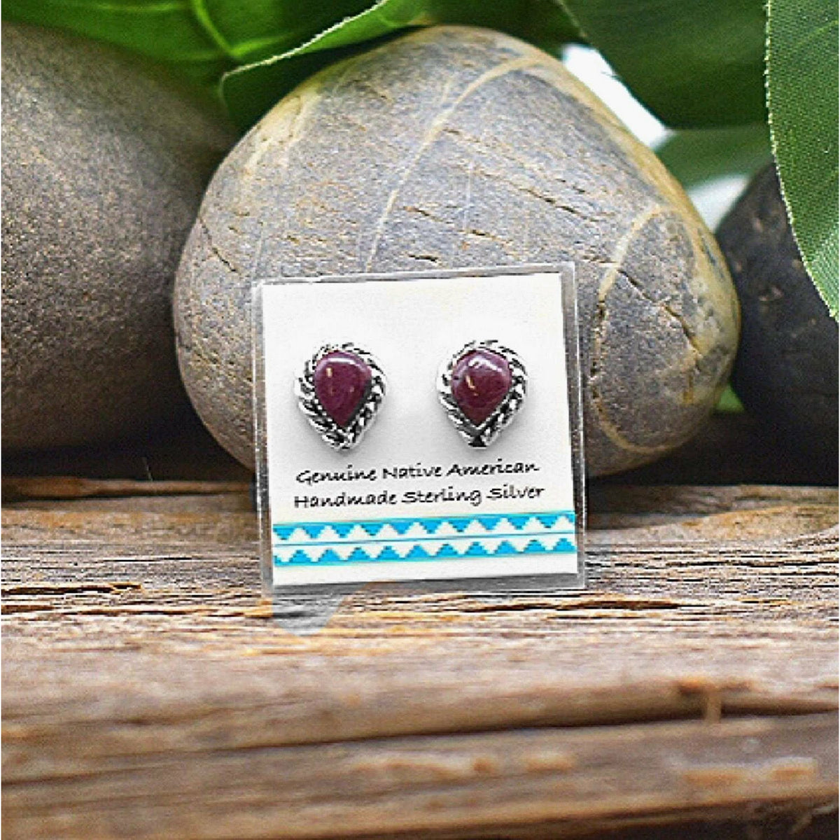Purple Spiny Oyster Shell Earrings in 925 Sterling Silver, Native American USA Handmade, Nickle Free, Natural Shell, Teardrop