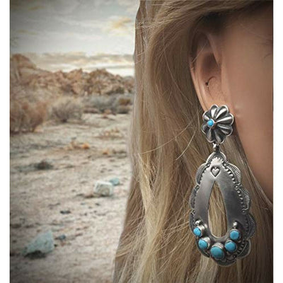 Genuine Sleeping Beauty Turquoise Earrings, Oxidized Sterling Silver, Authentic Navajo Native American USA Handmade, Artist Signed, Nickel Free, Southwest Vintage Style