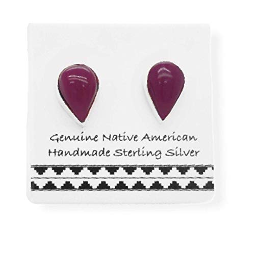 Purple Shell Stud Earrings in 925 Sterling Silver, Authentic Native American USA Handmade, Teardrop, Southwest Jewelry