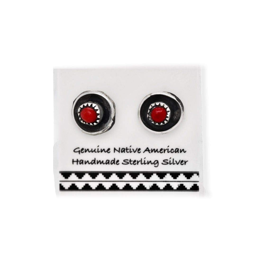 Native American USA Handmade 5mm Red Coral Stud Earrings Nickle Free 925 Solid Sterling Silver