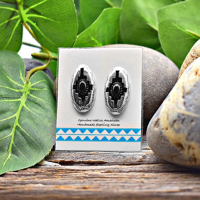 Genuine Onyx Stud Earrings in 925 Sterling Silver, Native American USA Handmade, Shadowbox Style Southwest Jewelry with Natural Black Stone