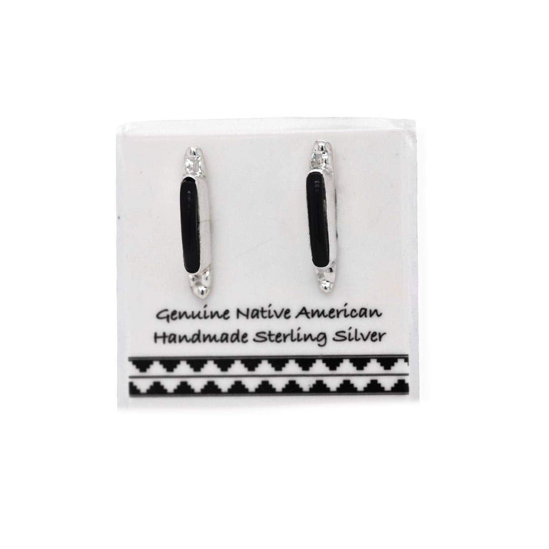 Genuine Black Onyx Bar Stud Earrings in 925 Sterling Silver, Native American USA Handmade, Nickle Free