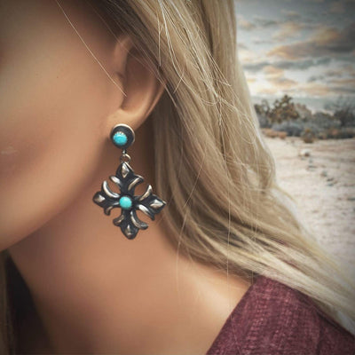 Genuine Turquoise Statement Necklace Set, Navajo Native American Tribe Handmade, Arizona Sleeping Beauty Mine Turquoise, Oxidized 925 Sterling Silver, Artisan Signed, One of a Kind Statement Piece