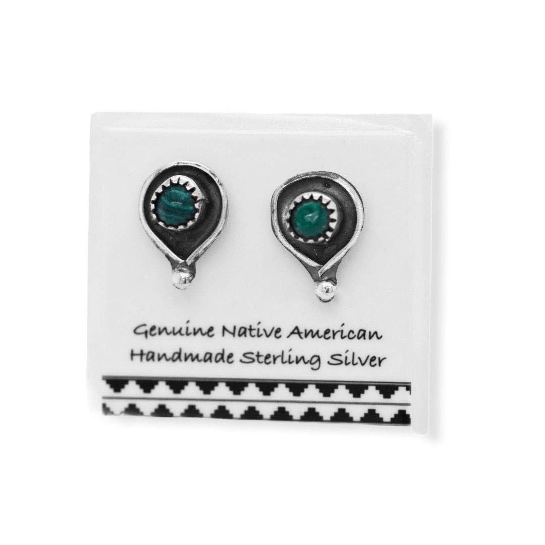 10mm Genuine Malachite Stud Earrings in 925 Sterling Silver, Authentic Native American Handmade, Nickle Free, Dark Green