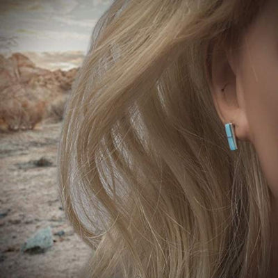 Genuine Sleeping Beauty Turquoise Bar Stud Earrings, 925 Sterling Silver, Authentic Zuni Native American USA Handmade, Natural Stone, Light Blue, Southwest