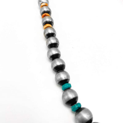 20 inch Genuine Navajo Pearl Necklace with Turquoise and Spiny Oyster, Sterling Silver, Authentic Navajo Native American USA Handmade in New Mexico