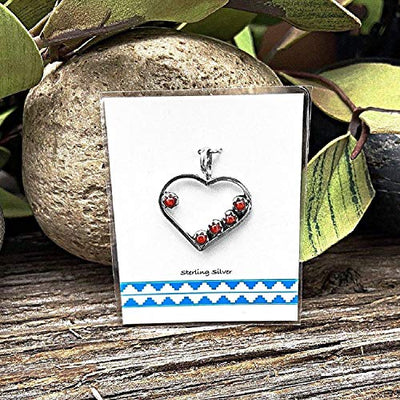 Genuine Red Coral Heart Necklace, Pendant and Chain Set, 925 Sterling Silver, Native American USA Handmade, Nickle Free