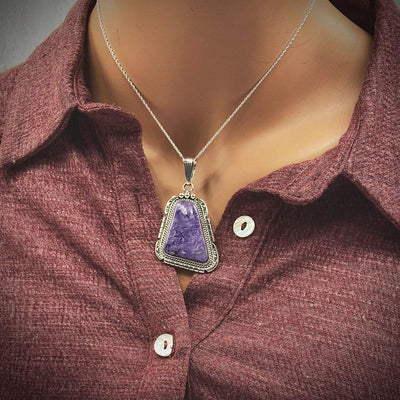 Genuine Purple Charoite Pendant, Sterling Silver, Authentic Navajo Native American USA Handmade, Artist Signed, Nickel Free, Southwest Jewelry