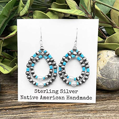 Sleeping Beauty Turquoise with Navajo and Freshwater Pearl Earrings, Sterling Silver, Native American USA Handmade, Nickle Free, French Hook