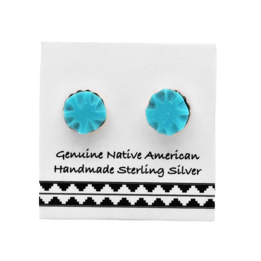 6mm Genuine Sleeping Beauty Turquoise Stud Earrings in 925 Sterling Silver, Carved Stone Design, Authentic Native American Handmade