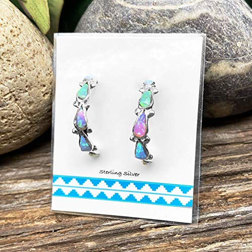 Desert Opal Half Hoop Earrings, Native American USA Handmade, 925 Sterling Silver, Multicolor Synthetic Opal, Nickle Free
