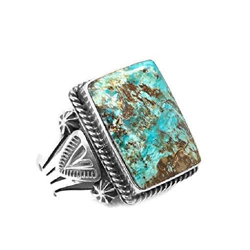 Genuine Royston Turquoise Ring, Size 13, Sterling Silver, Authentic Navajo Native American USA Handmade, Nickel Free, Southwest Jewelry for Men