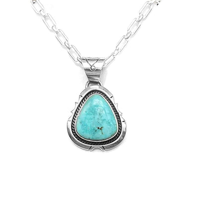 Genuine Royston Turquoise Necklace Set, Pendant with Chain, Navajo Native American USA Handmade, 925 Sterling Silver, Artist Signed, Natural Stone, Nickle Free