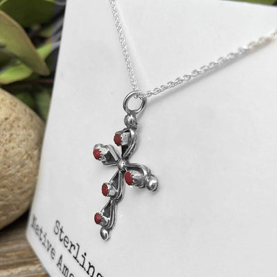 Genuine Red Coral Cross Necklace, Pendant and Chain Set, 925 Sterling Silver, Native American USA Handmade, Nickle Free