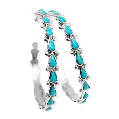Large Sleeping Beauty Turquoise Statement Half Hoop Earrings, 925 Sterling Silver, Native American Handmade, Genuine Stone, Nickle Free, 2 Inch