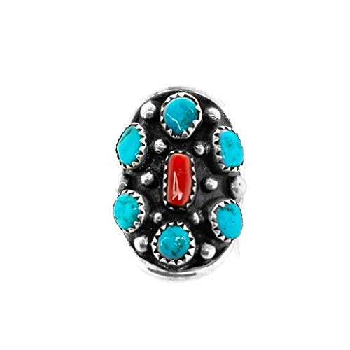 Genuine Kingman Turquoise and Coral Ring, Size 6.5, Sterling Silver, Authentic Navajo Native American USA Handmade, Artist Signed, Nickel Free, Southwest Jewelry