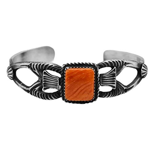 Genuine Orange Spiny Oyster Cuff Bracelet, Oxidized Sterling Silver, Authentic Navajo Native American USA Handmade, Artist Signed, Size Women's Medium